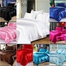 800 TC UK Size Soft Satin Silk Fitted/Flat/Bed Skirt/3pc Duvet Set/4pc Sheet Set