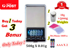 500g 0.01 DIGITAL POCKET SCALES JEWELLERY ELECTRONIC milligram micro mg Weights