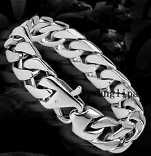 15mm Silver Tone Cuban Curb Link Mens Chain Boys 316L Stainless Steel Bracelet