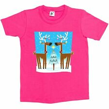 Reindeers With Christmas Trees & Decorations Kids Girls T-Shirt
