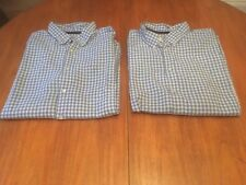 2 X XXL BLUE & WHITE CHECK MARKS AND SPENCER LONG SLEEVE SHIRTS