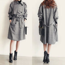 Womens Long Waterfall Trench COAT Collar Belt Jacket Winter Long Slim Outwear