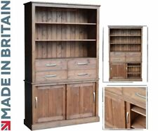 Large Solid Pine Bookcase, 200cm Tall Bookshelves with Drawers & Sliding Doors