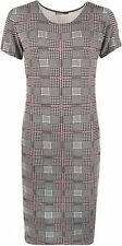 New Womens Plus Size Square Abstract Check Print Short Sleeve Ladies Midi Dress