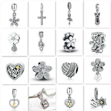 Hot Clear 1pcs Silver CZ European Charm Beads Fit 925 Necklace Bracelet Pendant