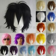Unisex Cosplay Short Hair Wig Women Men Straight Halloween Party Costume Wigs Wt