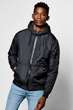 Boohoo Mens Hooded Padded Cagoule With MA1 Detailing