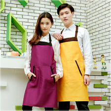 Unisex Kitchen Cooking Apron Restaurant Chef Waiter Uniform Bib Apron w/ Pocket