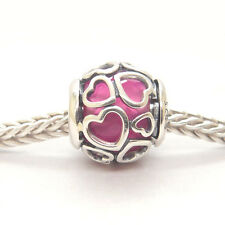 Authentic S925 Sterling Silver Cerise Encased in Love, Cerise Crystal CHARM BEAD