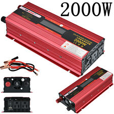 2000W Car Truck Power Inverter 12V/24V DC to 110V AC Adapter Charger Converter