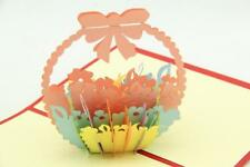 Creative 3D Handmade Flower Basket Greeting Thank You Cards Gifts Best Wish NC3