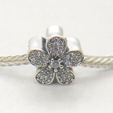 New Authentic S925 Silver WHITE DAISY PAVE SILVER CHARM WITH CUBIC ZIRCONIA Bead