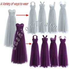 Long Women's Bridesmaid Mesh Evening Formal Party Cocktail Prom Gown Ball Dress