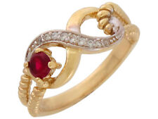 10k or 14k Two-Tone Gold Simulated Garnet White CZ January Ladies Infinity Ring