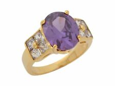 10k or 14k Yellow Gold Simulated Amethyst White CZ Classic Design Ladies Ring