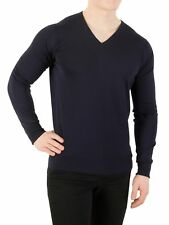 John Smedley Men's V-Neck Knit, Blue