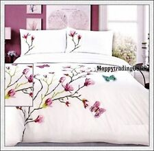 280TC White Pink Aqua Tree 3D Butterfly Embroi. KING QUEEN QUILT DOONA COVER SET