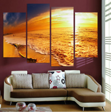 4 Panel Seascape Setting HD Painting On Canvas Print Home Decoration