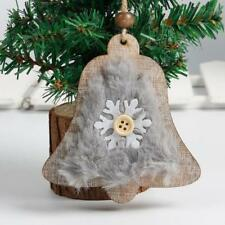 Wood Christmas Tree Pendants Hanging Ornament Holiday Bell Decor Craft Gifts