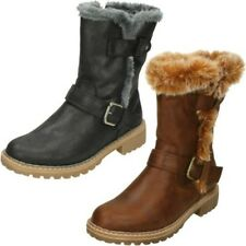 Ladies Down To Earth Fur Trim Mid Calf Casual Boots