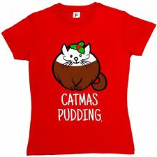 Catmas Pudding Happy Christmas Pudding Cat Lover Womens Ladies T-Shirt