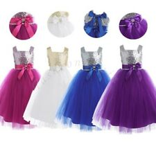 Sequin Flower Girl Party Wedding Princess Tulle Pageant Kids Baby Dress 1-8Years