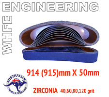 5 BELTS, 915mm 914mm x 50mm MIXED GRIT LINISHING SANDING ZIRCONIA 40 60 80 120 #