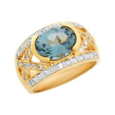 10k or 14k Two Tone Gold Simulated Blue Zircon White CZ Wide Band Ladies Ring