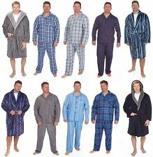 Mens Pyjamas PLUS LARGE SIZE Flannel Cotton Winter Brushed Poplin Stripe Check