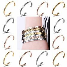 Women Charm Stainless Steel Love&Wish Letter Open Bracelet Bangle Cuff Jewellery