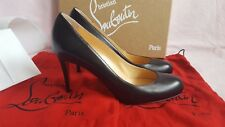 New Authentic Christian Louboutin Simple Pump Black Leather 85mm Shoes Heels