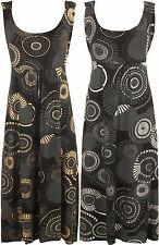 Plus Womens Sleeveless Strappy Print Belted Flared Full Ladies Maxi Dress 12-30