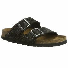 Papillio by Birkenstock Arizona Black Womens Suede Leather Strapped Sandals