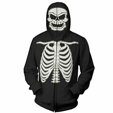 Full Zip Up Glow in the Dark Costume Hoodie Skeleton Sweatshirt