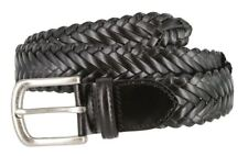 "Genuine Leather Woven Braided Leather Dress Casual Belt 1-3/8"" Wide Black Brown"