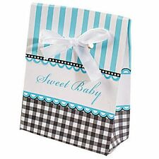 12 Baby Shower Favor Boxes - BLUE -for Favors at Your Baby Shower-Sweet Baby Boy