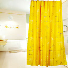Home Yellow Shell Bathroom Waterproof Polyester Shower Curtain With 12 Hooks