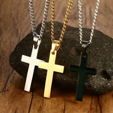 Men Necklace Gold/Silver Plated Stainless Steel Cross Pendant Link Chain C