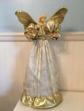 Very Large (2 Feet +) Table or Tree Top Angel  - Gold Lame/ Sheer White Fabric