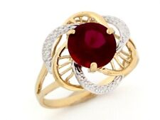 10k or 14k Two-Tone Gold Simulated Garnet January Birthstone Ring