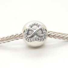 Genuine Authentic S925 Sterling Silver Infinity Heart Clear CZ Clip Charm