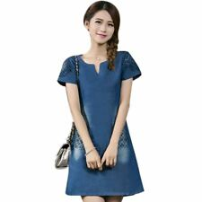 Plus Size Blue Color Short Sleeve V Neck Polyester Knee Length Dress For Women