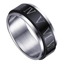 Stainless Steel Roman Numerals Turnable Band Ring Wedding Fashion Punk Jewelry