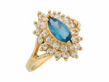 10k or 14k Yellow Gold Simulated Blue Zircon White CZ December Ladies Ring