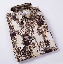 Men Turn-down Collar Floral Printed Fashion Casual Slim Fit Shirt Size M-4XL