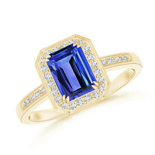 Diamond Halo Emerald Cut Tanzanite Engagement Ring