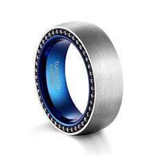 Wedding Band Blue Dome Brushed Tungsten Carbide Ring CZ Comfort Fit