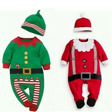 Christmas Baby Boys Clothes Baby Rompers Girls Long-sleeved Rompers Hat Cute Set