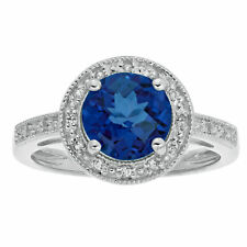 2.4 Ct Round Blue Sapphire Diamond Sterling Silver Ring (.005cttw I-J Color)