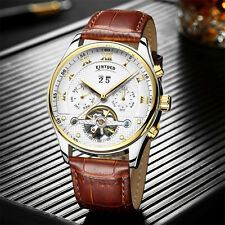KINYUED Mens Mechanical Watch Automatic Classic Leather Mechanical WristWatch